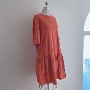 COS Orange Tiered Peplum Dress
